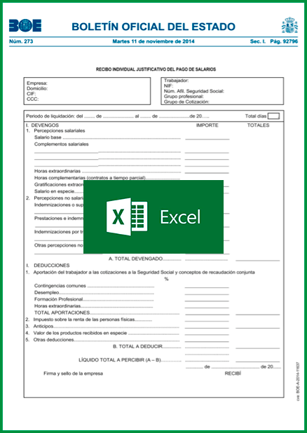 Modelo nómina para descargar en Excel