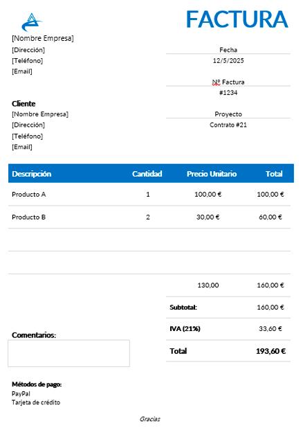 Ejemplo de plantilla de factura simple para descargar